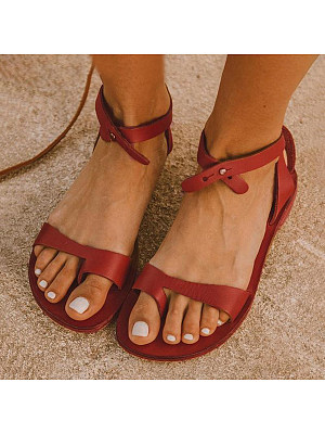 Plain Flat Peep Toe Casual Date Travel Flat Sandals, 7354486