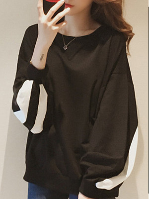 Round Neck Contrast Piping Long Sleeve Sweatshirts, 5048987