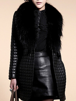 Faux Fur Collar  Slit Pocket  Plain  Long Sleeve Coats