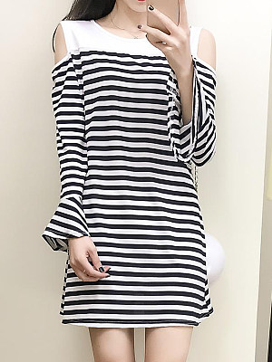 Round Neck Striped Bell Sleeve Shift Dress