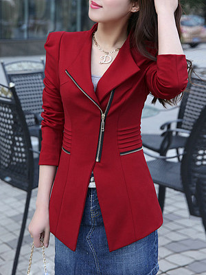 Lapel Slit Pocket Zipper Plain Puff Sleeve Blazers
