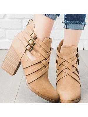 Plain Chunky High Heeled Round Toe Date Office Outdoor Ankle High Heels Boots, 6229501