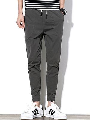 Men's Plain Drawstring Pocket Slim-Leg Casual Pants
