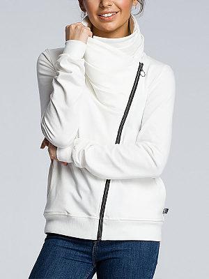 Casual Sloping Zipper Irregular Collar Pleated Sweatshirts, 8386011