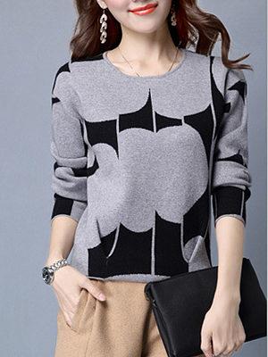 Round Neck  Print Pullover