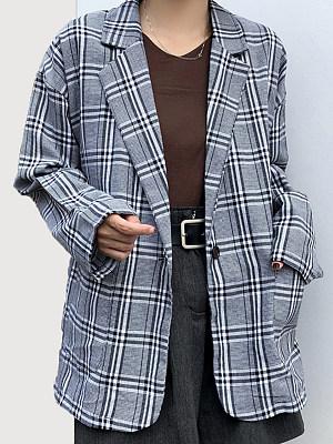 Notch Lapel  Slit Pocket  Decorative Button  Plaid  Long Sleeve Blazers