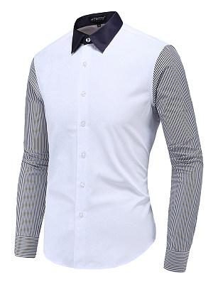 Charming Color Block Pinstripe Men Shirts