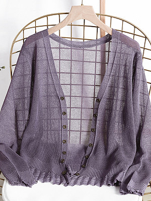 V Neck Patchwork Elegant Plain Single Breasted Long Sleeve Knit Cardigan, 8765668