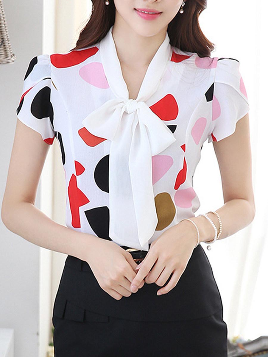 Tie Collar  Printed  Petal Sleeve Blouse