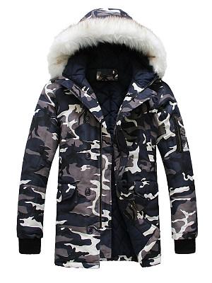 Hooded Camouflage Flap Pocket Men Coat