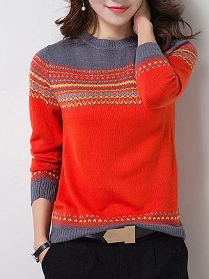 Round Neck Color Block Pullover фото