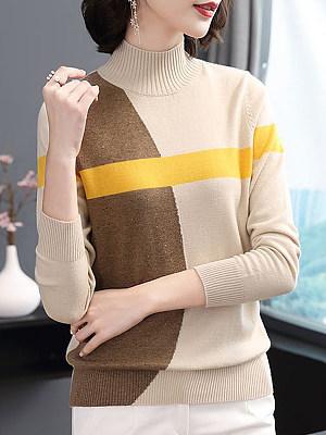 Short High Collar  Patchwork  Elegant  Color Block  Long Sleeve  Knit  Pullover