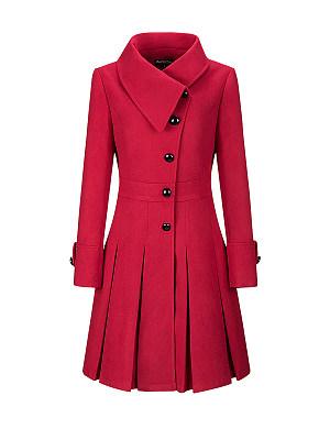 Fold-Over Collar Single Breasted Plain Swing Woolen Coats