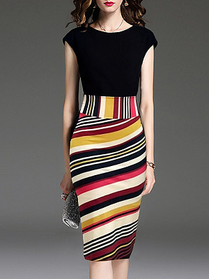 Round Neck Color Block Bodycon Dress фото