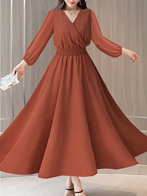V Neck Elastic Waist Plain Lantern Sleeve Maxi Dress