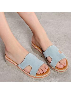 Plain Velvet Peep Toe Casual Comfort Slippers