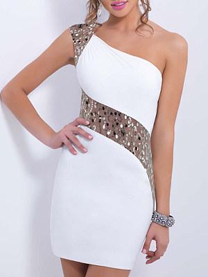 One Shoulder  Glitter Patchwork  Color Block Bodycon Dress