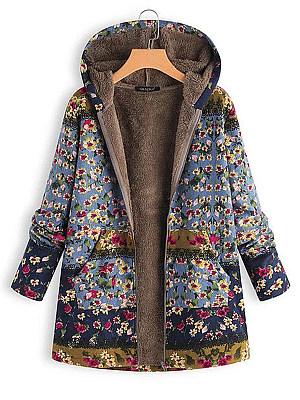 Hooded Floral Printed Coat, 5536895