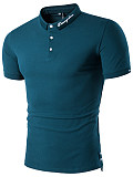 Polo Collar  Letters Plain Men T-Shirt
