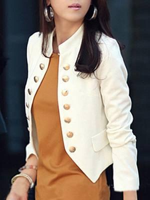 Ladylike Double Breasted Band Collar Blended Plain Blazer