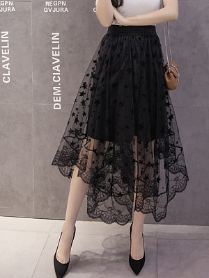 Asymmetric Hem See-Through Plain Flared Maxi Skirt