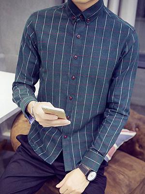 Button Down Collar Men Check Shirts