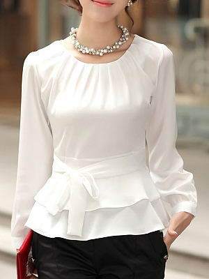 Autumn Spring Chiffon Women Round Neck Bowknot Plain Long Sleeve Blouses