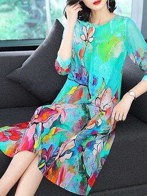 Round Neck  Printed Maxi Dress collar_&_neckline:round neck, material:polyester, occasion:date, package_included:dress*1, pattern_type:print, season:spring*summer, sleeve_length:half sleeve, how_to_wash:cold  hand wash, supplementary_matters:accessory is excluded., length:106,shoulder:37,bust:100,