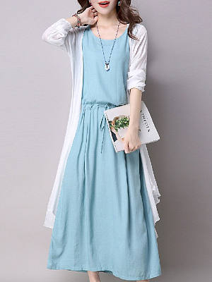 Купить Casual Round Neck Drawstring Two-Piece Maxi Dress