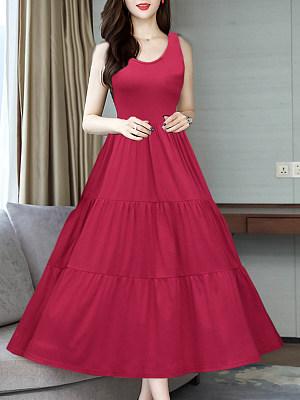 Round Neck Plain Maxi Dress, 6973091