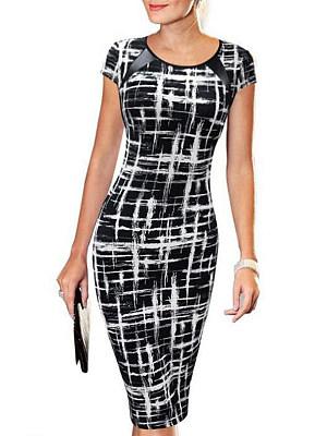 Round Neck  Checkered Bodycon Dress
