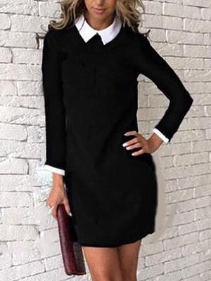 Fold-Over Collar Color Block Shift Dress, 6115195