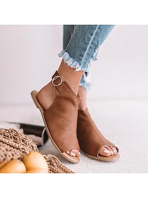 Plain Flat Peep Toe Casual Date Travel Flat Sandals, 7071575