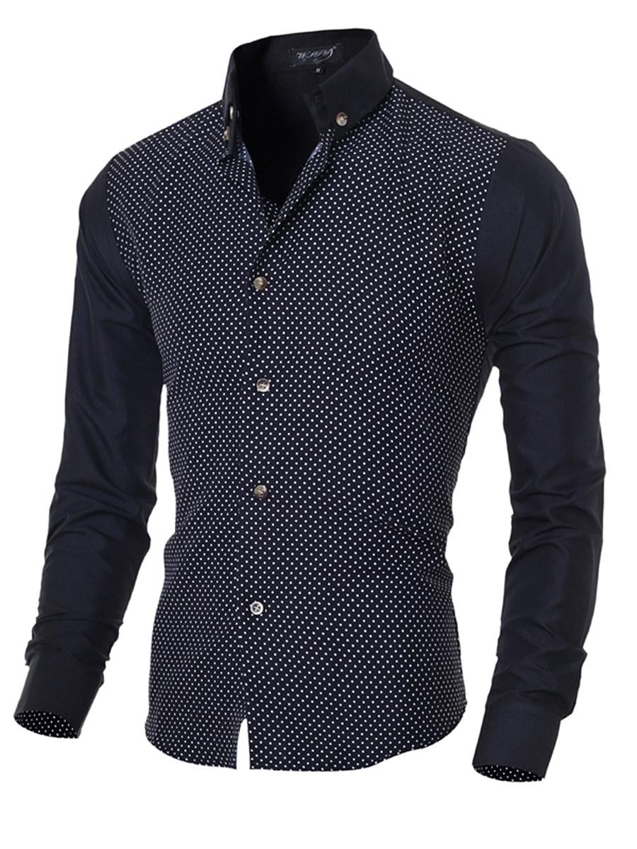 Button Down Collar Polka Dot Men Shirts