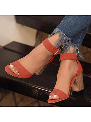 Plain Chunky Mid Heeled Peep Toe Date Travel Sandals, 7035161