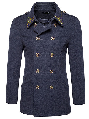 Lapel Double Breasted Embroidery Plain Men Coat