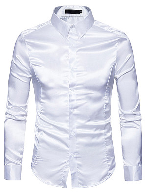 Men Sparkling Plain Turn Down Collar Shirts фото