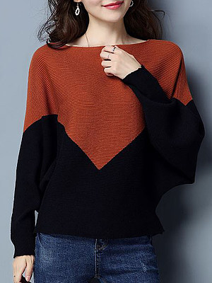 Patchwork Elegant Color Block Batwing Sleeve Long Sleeve Knit Pullover фото