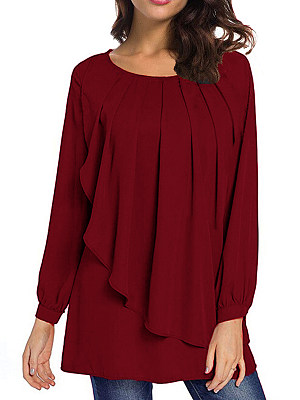 Round Neck Loose Fitting Plain Puff Sleeve Blouses