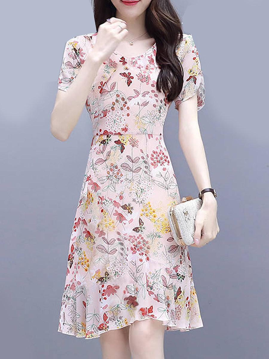 Round Neck  Asymmetric Hem  Floral Printed Shift Dress
