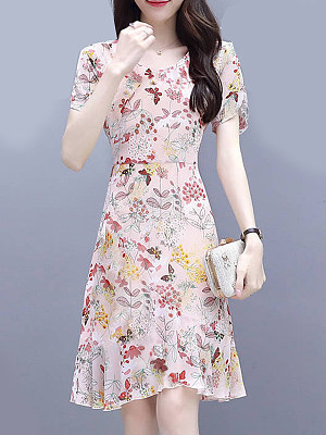 Round Neck Asymmetric Hem Floral Printed Shift Dress фото