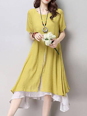 Round Neck Asymmetric Hem Plain Blend Shift Dresses