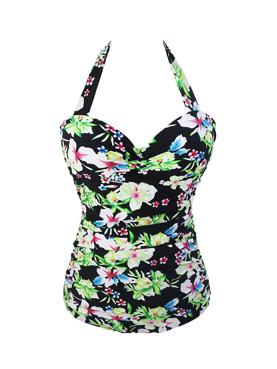 Halter  Floral Printed Plus Size One Piece