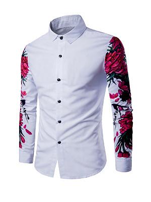 Skinny Floral Printed Turn Down Collar Men Shirt