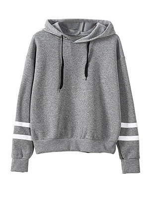 Casual Contrast Piping Colouring Shoulder Sleeve Long Sleeve Hoodie, 8920379