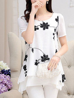Floral Embroidery Asymmetric Hem Round Neck Blouse фото