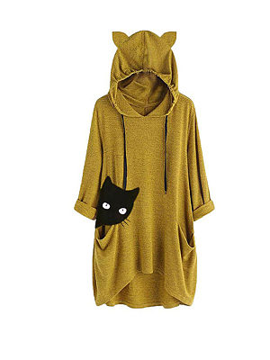 Casual Female Long-Sleeved Long Hooded Sweater Loose, 8331637