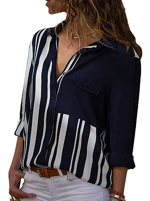 Turn Down Collar Loose Fitting Patchwork Stripes Blouses