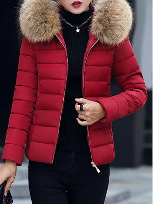 Hooded Fur Collar Plain Coat фото