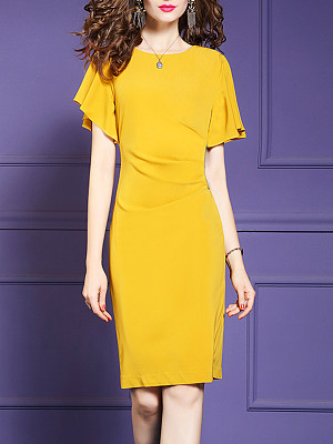 Round Neck Plain Bell Sleeve Bodycon Dress, 7193580